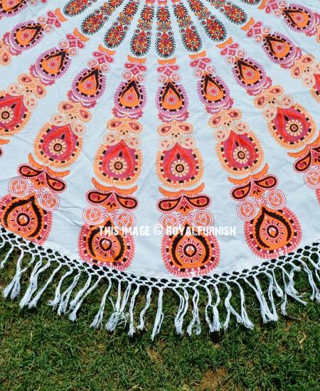 White Orange Pea Medallion Circle Roun Beach Towel Throw Royalfurnish