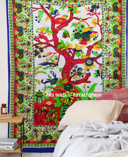 White Tree Of Life Tapestry Wall Hanging Hippie Cotton Bedspread Royalfurnish