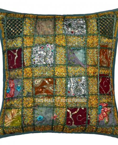 Dark Green Sequin Needlepoint Patchwork Embroidered Cotton Pillow Cover 16X16 - RoyalFurnish.com