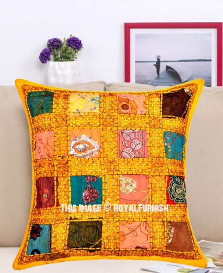 Needlepoint Pillow Decoration Crossword : 16X16 Yellow Decorative Sequin Needlepoint Unique One-Of-A-Kind Pillow Cover - RoyalFurnish.com