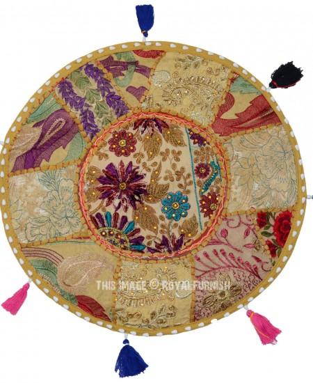 Tan Small Round India Handmade Patchwork Floor Sitting ...