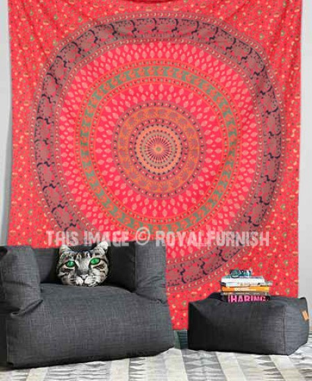 Red Boho Elephant Mandala Wall Tapestry, Hippie Indian Throw Bedding ...