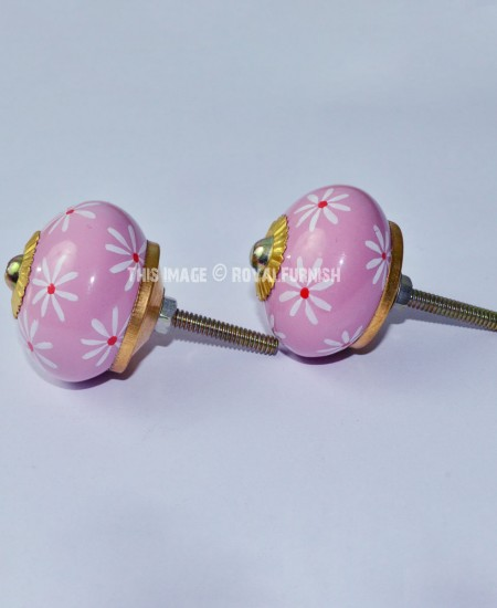 Decorative Small Floral Style Pink Ceramic Ball Door