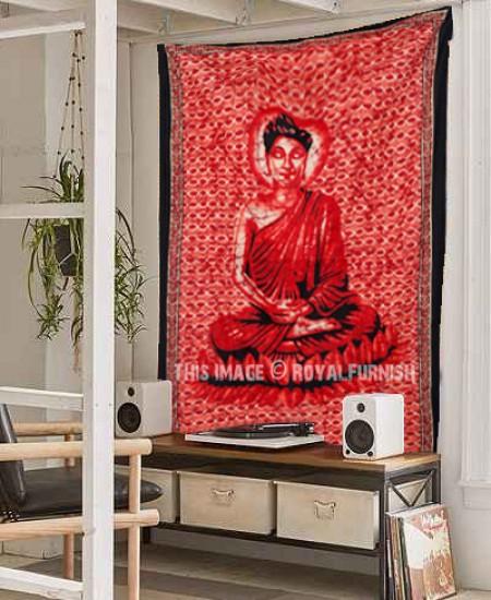 Framelessoil Paintings Canvas Colorful Buddha Sitting Wall: Red Colorful Buddha Buddhist Batik Sitting Tapestry Wall