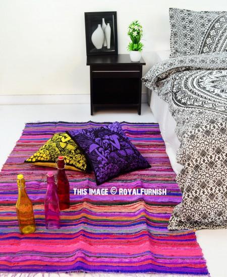 """Purple Rug 2 Ft: Purple Chindi Area Rug 3.6"""" X 6.5"""" Ft."""