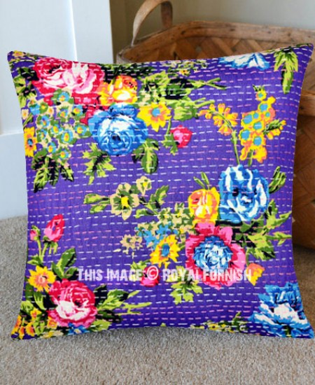 Blue 16X16 Outdoor/Indoor Indian Kantha Square Toss Pillow Cover - RoyalFurnish.com