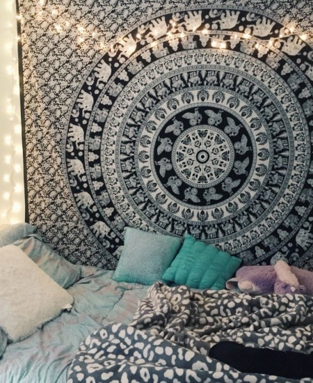 Black And White Indian Elephant Mandala Tapestry Wall