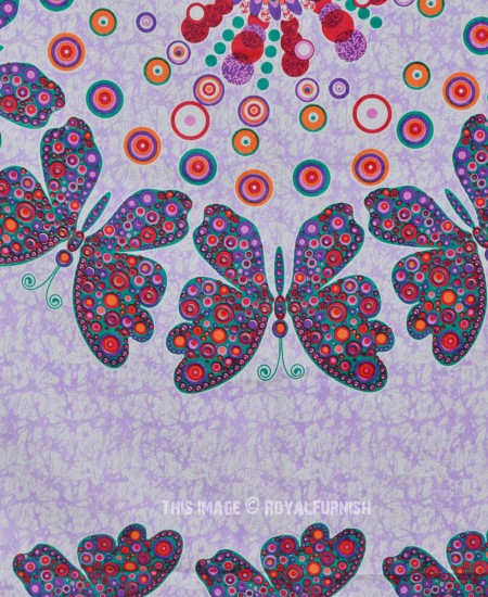 Purple Multicolor Butterfly Wall Decor Mandala Tapestry