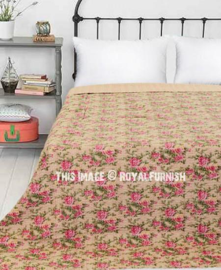 Rose Floral Printed Beige Kantha Quilted Bedding Bedspread