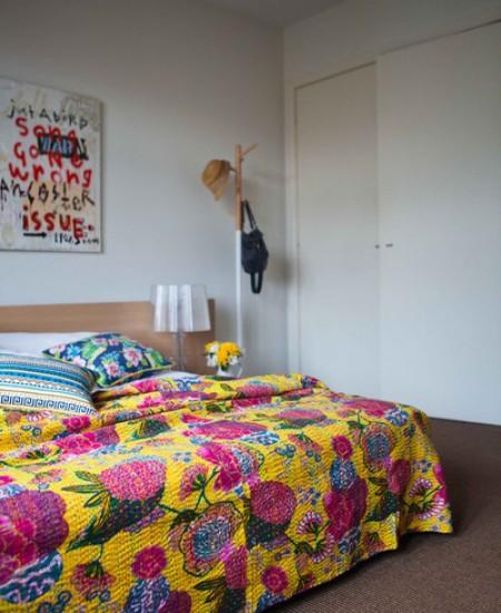 Kantha Quilt Polka dot kantha Bed cover kantha Bedspread Indian Bedcover Yellow