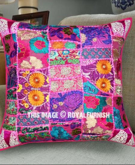 decorative boho accent unique pretty patchwork 16x16.htm 24x24  pink boho patchwork decorative   accent throw pillow cover  decorative   accent throw pillow cover