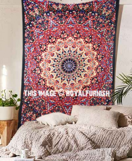 Multi Star and Elephant Printed Intricate Medallion Tapestry Wall ...