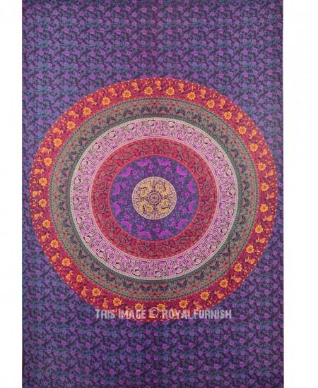 Purple Twin Plum And Bow Medallion Mandala Hippie Tapestry