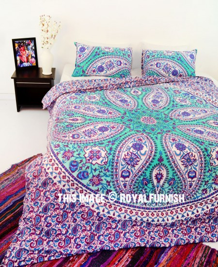Purple Paisley Boho Circle Mandala Duvet Cover With Set Of