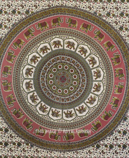 Green Amp Maroon Elephants Medallion Mandala Tapestry