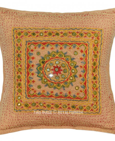 Brown Outdoor Indoor Mirror Medallion Circle Square Throw Pillow Cover 16X16 - RoyalFurnish.com