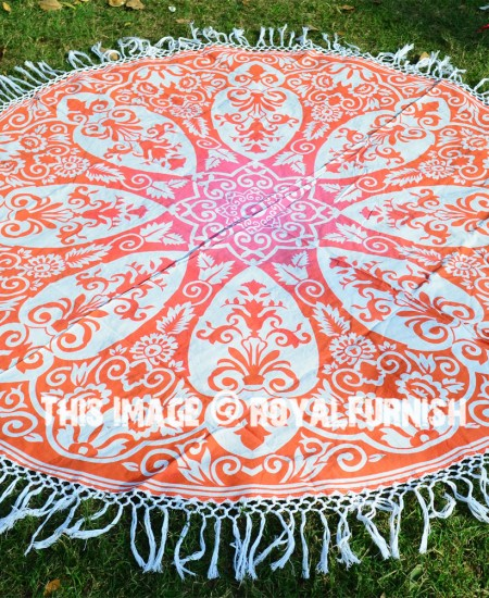 Orange Ombre Medallion Circle Beach Roundie Towel Throw