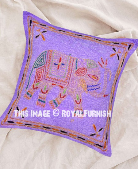 Purple Decorative Embroidered Elephant Cotton Pillow Cover