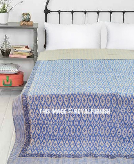 Queen Size Quilt 90 x108 Inches Gudri Kantha Bed Cover Bohemian Bedspread The Art Gallery Turquoise Floral Print Hand Block Printed Cotton Kantha Quilt Indian Cotton Blanket