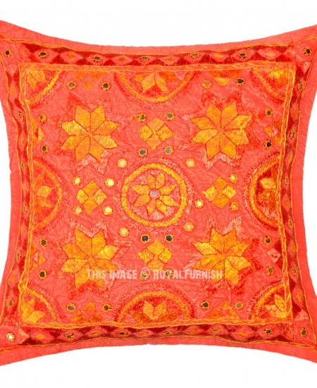 Decorative Pillow Cover Mcqueen Red Multi : Red Multi Decorative and Accent Handcrafted Star Mirrored Pillow Cover 16X16 Inch - RoyalFurnish.com