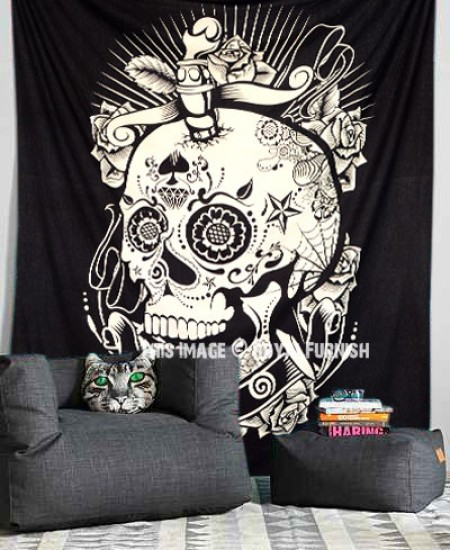 Black Amp White Psychedelic 3d Mindful Skull Wall Tapestry