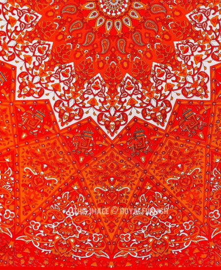 Vibrant Red 3 D Boho Star Medallion Mandala Tapestry