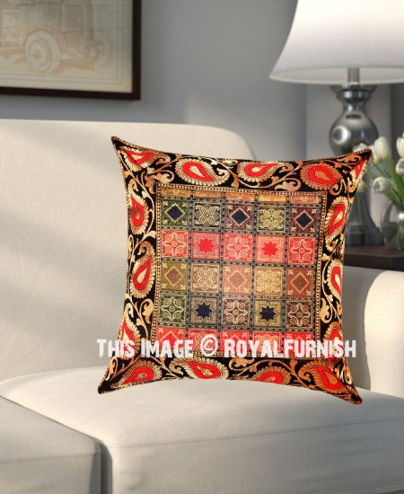 Black Colorful Square Boxes And Paisley Designed