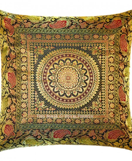 Dark Green Unique Floral Medallion Circle Decorative Silk