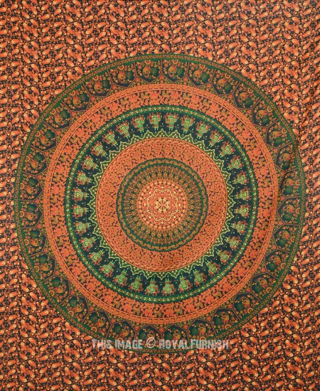 Green Orange Multi Elephants Bohemian Rings Mandala