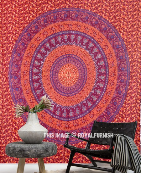 Burgundy Blue Elephants Floral Multi Rings Mandala Tapestry ...