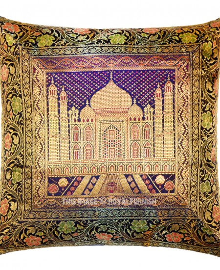 Blue Taj Mahal Featuring Decorative Square Silk Pillow