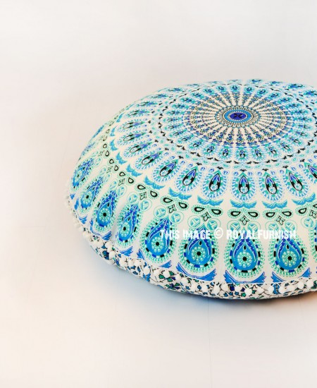 Round Floor Pillow Blue : White Blue Hippie Mandala Round Pom Pom Floor Pillow Cover 32