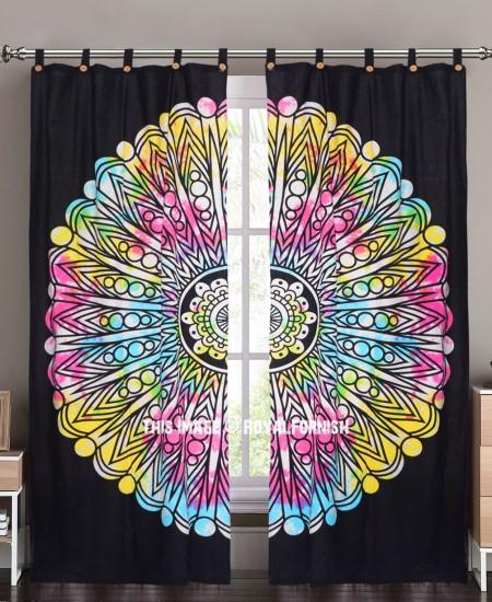 Black Multi Spiritual Sun Mandala Tie Dye Cotton Drape