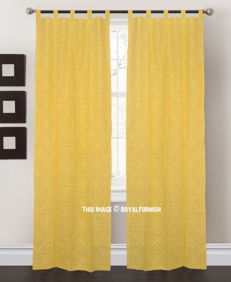 Yellow floral curtwork art cotton sheer curtains set of 2 for Painting sheer curtains