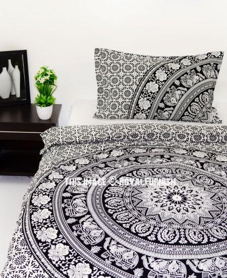 Black & White Boho Boutique Mandala Bedding Duvet Cover