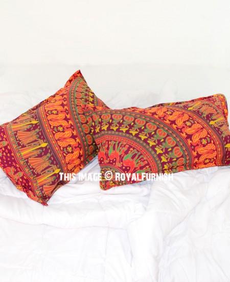 Decorative Red Bohemian Mandala Bed Pillow Cases Set of Two - RoyalFurnish.com