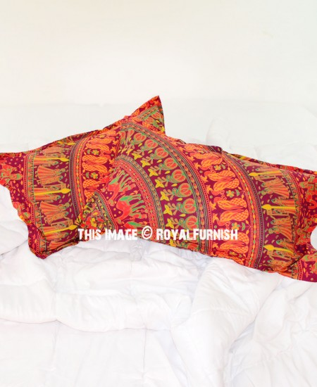 Red Throw Pillow For Bed : Decorative Red Bohemian Mandala Bed Pillow Cases Set of Two - RoyalFurnish.com