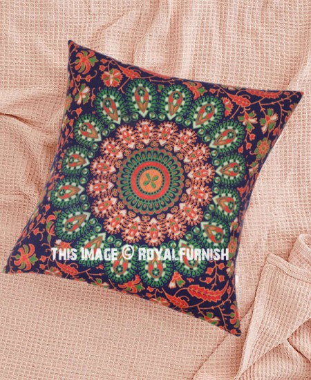 Decorative Pillows Blue And Orange : Blue & Orange Decorative Mandala Throw Pillow Cover - RoyalFurnish.com