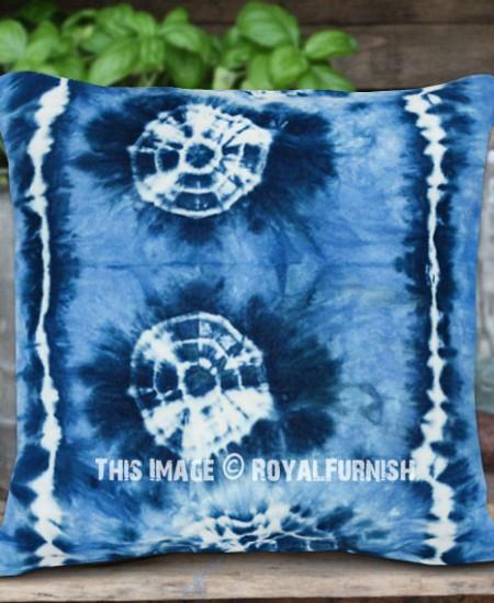 Turquoise Decorative Medallion Shibori Design Indigo Throw