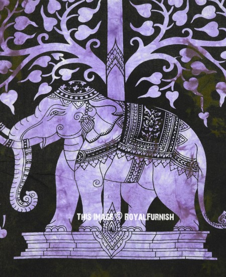 Fabric Wall Posters : Black multi elephant under tree fabric cloth poster