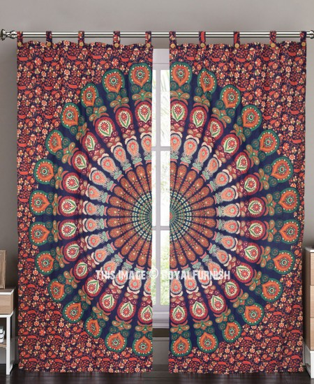 Blue Multi Good Vibes Mandala Hippie Tapestry Curtain