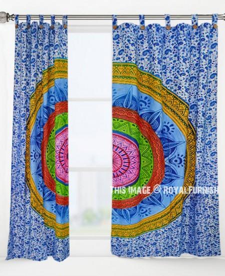 Colorful Rainbow Mandala Curtains Set Of 2
