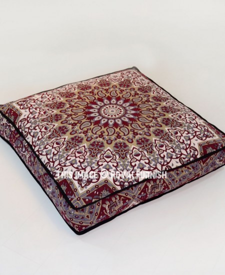 Maroon Big Star Square Floor Pillow 36