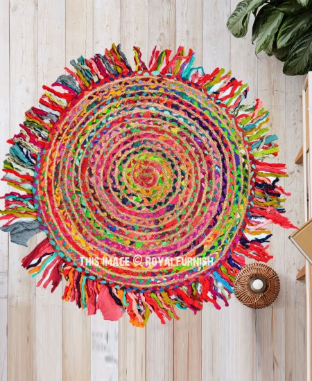 Colorful Jute Cotton Braided 3 Ft Round Fringed Rug